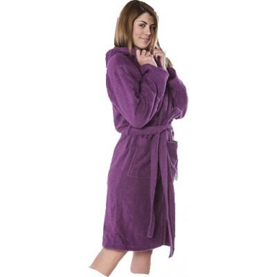 Μπουρνούζι γυναικείο βαμβακερό με κουκούλα Κλωτσοτήρας